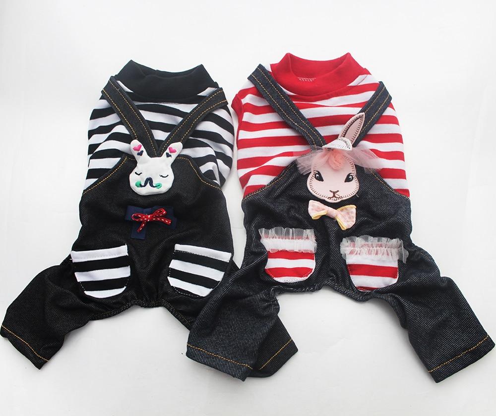 Kleine hond kat Jumpsuit Shirt gestreepte & konijn ontwerp Pet Puppy lente / zomer kleding