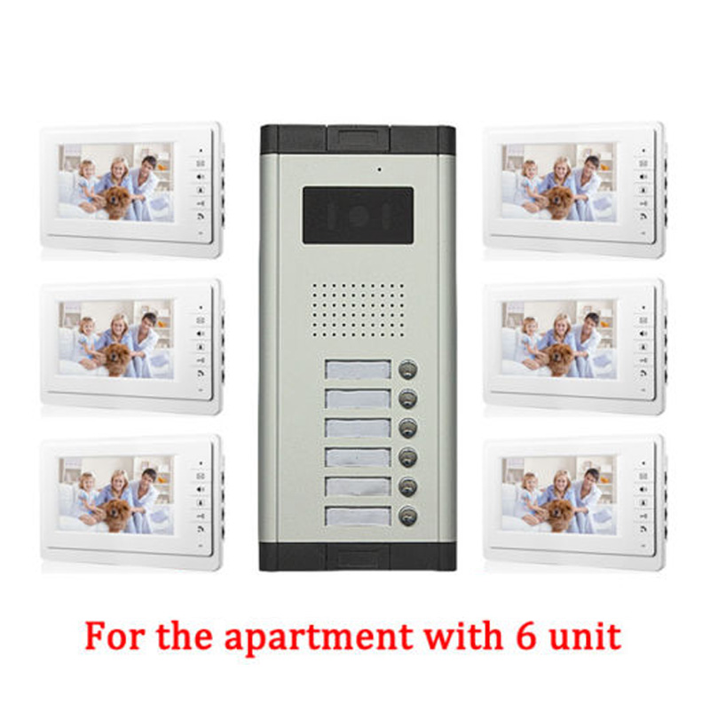 Apartment 6 Unit Intercom Entry System Wired Video Door Phone Audio Visual 7 inch TFT LCD Monitor diysecur 7 4 wired apartment video door phone audio visual intercom entry system ir camera for 6 families