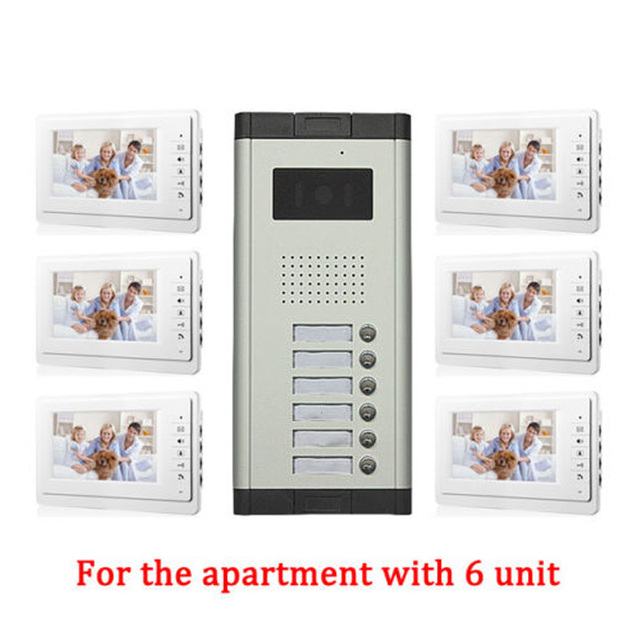 Apartment 6 Unit Intercom Entry System Wired Video Door Phone Audio