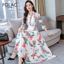 FGLAC New Arrivals 2019 Spring Chiffon dress Fashion Casual A-Line Floral print dress Elegant Slim Turn-down Collar party dress