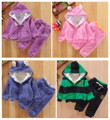Child winter bear berber fleece thick plus velvet set quality child set male thermal clothing