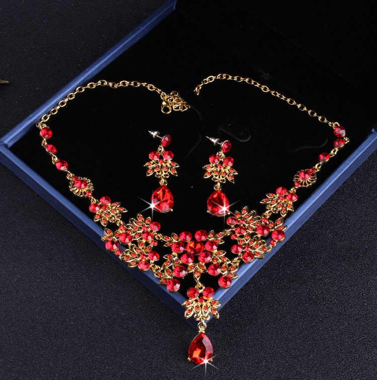Barokke Vintage Goud Rode Kristal Bruids Sieraden Sets Strass Tiara Kroon Choker Ketting Oorbellen Set Bruiloft Accessoires