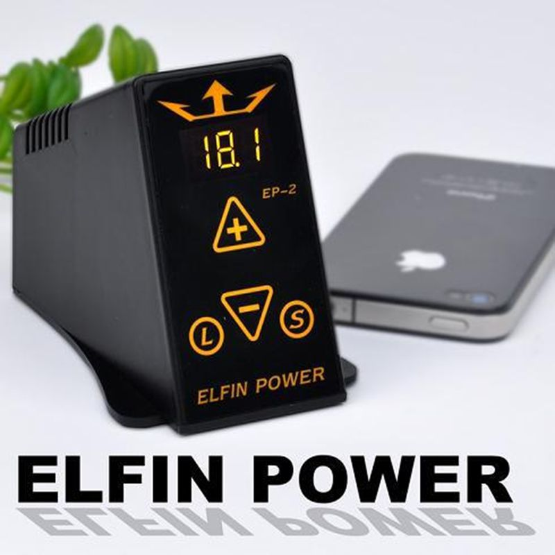 ФОТО High Quality Professional Elfin EP-2 New Design Digital LCD Tattoo Power Supply Set with Plug Clip Cord Foot Pedal Free shipping