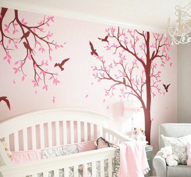 Huge Tree Nursery Room Wall Decoration Birds Decal Diy Art Sticker Kids Bedroom Living