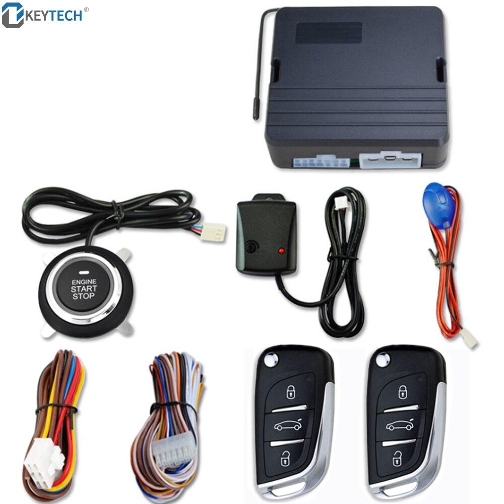 OkeyTech voiture SUV sans clé entrée moteur démarrage système d'alarme bouton poussoir démarreur à distance arrêt Auto voiture alarme accessoires avec 2 clés