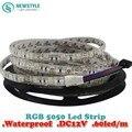 2 unid/lote Impermeable LLEVÓ la Tira 5050 luz fiexible 60Led/m, 10 m/lote DC12V, RGB, 5 metros/1 Rollo