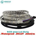 2piece/lot Waterproof LED Strip 5050 fiexible light 60Led/m,10m/lot DC12V,RGB,5meters/1 Roll