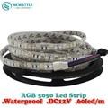2piece/lot Waterproof LED Strip 5050 fiexible light 60Led/m,10m/lot DC12V,RGB,5meters/1 Roll