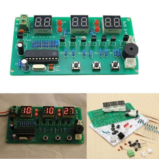 5V 12V AT89C2051 çok fonksiyonlu altı dijital LED DIY elektronik saat kiti SH E 878