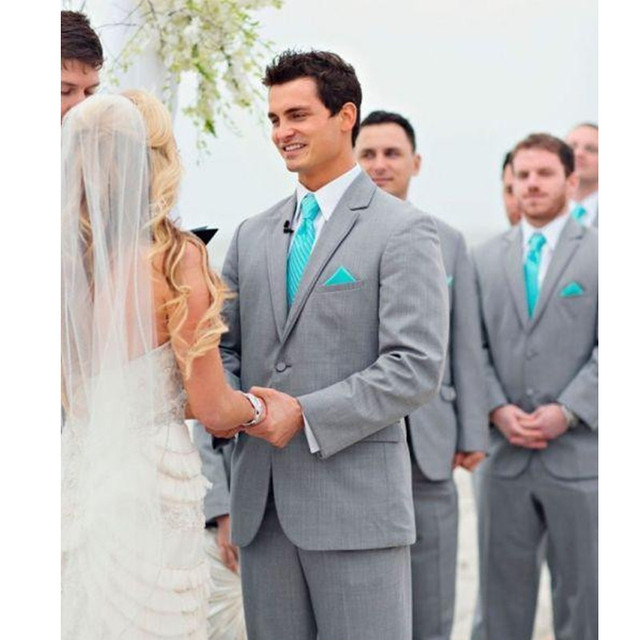 Cheap Grey Groom Tuxedos Wedding Suits Two Piece Official Formal Men ...