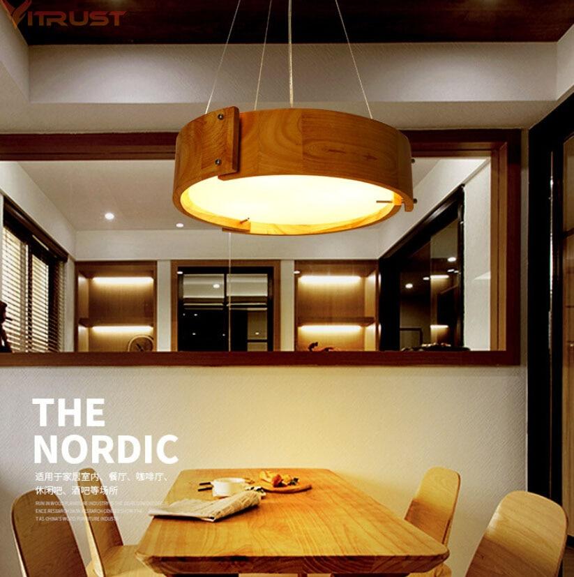 Vitrust Wood Chandelier Lightings Nordic Lamps Living Room Japanese Ceiling Lampadari Ceiling Home Lightings Bedroom Dining Room in Chandeliers from Lights Lighting