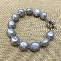 gray(grey) color bracelet pearl semi baroque tear drop irregular shape natural Cultured freshwater pearls for women