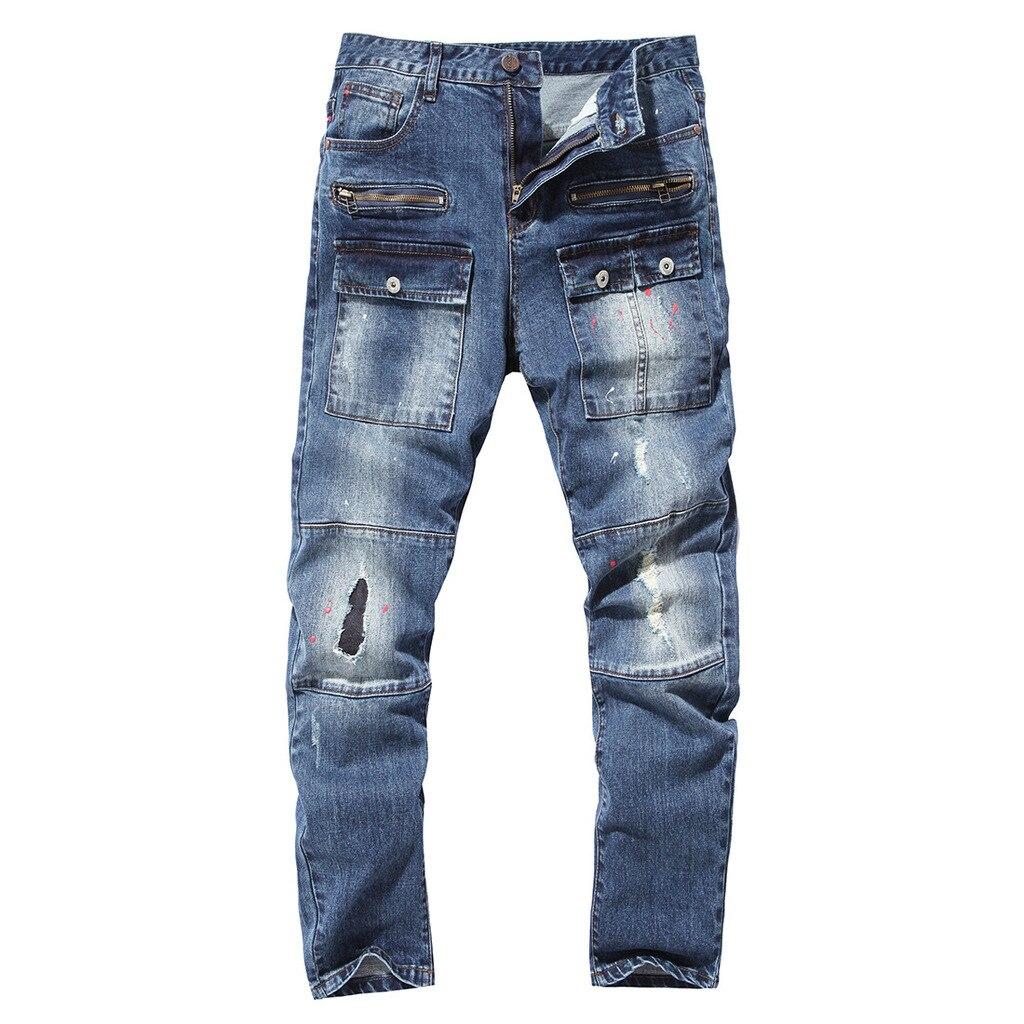 ФОТО 2017 hole decoration man high quality cotton denim jeans men casual trousers pocket men plus size 38  40