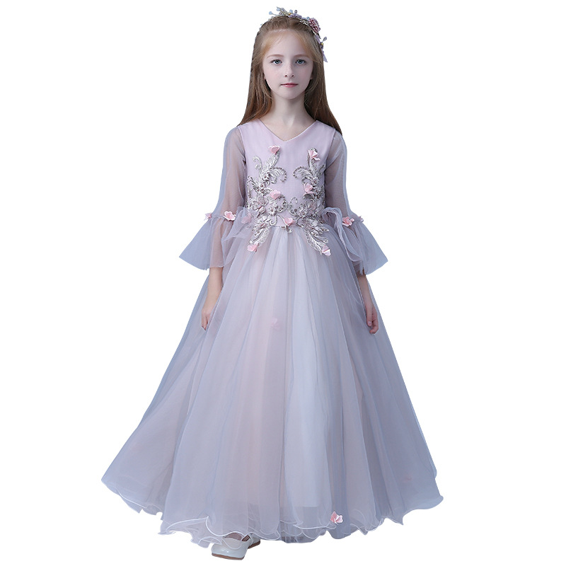 Elegant Children Kids Purple Color Birthday Wedding Party Tutu Flowers Dress Baby Girls Pageant Ball Gown Long Mesh Dress E96