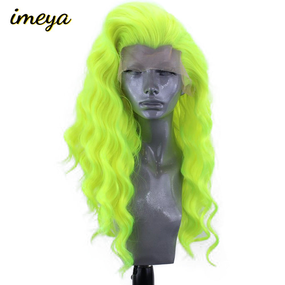 Imeya 150% Density 24 Inch Loose Wave Wig Heat Resistant Hair Synthetic Lace Front Wigs For Women With Natural Hairline