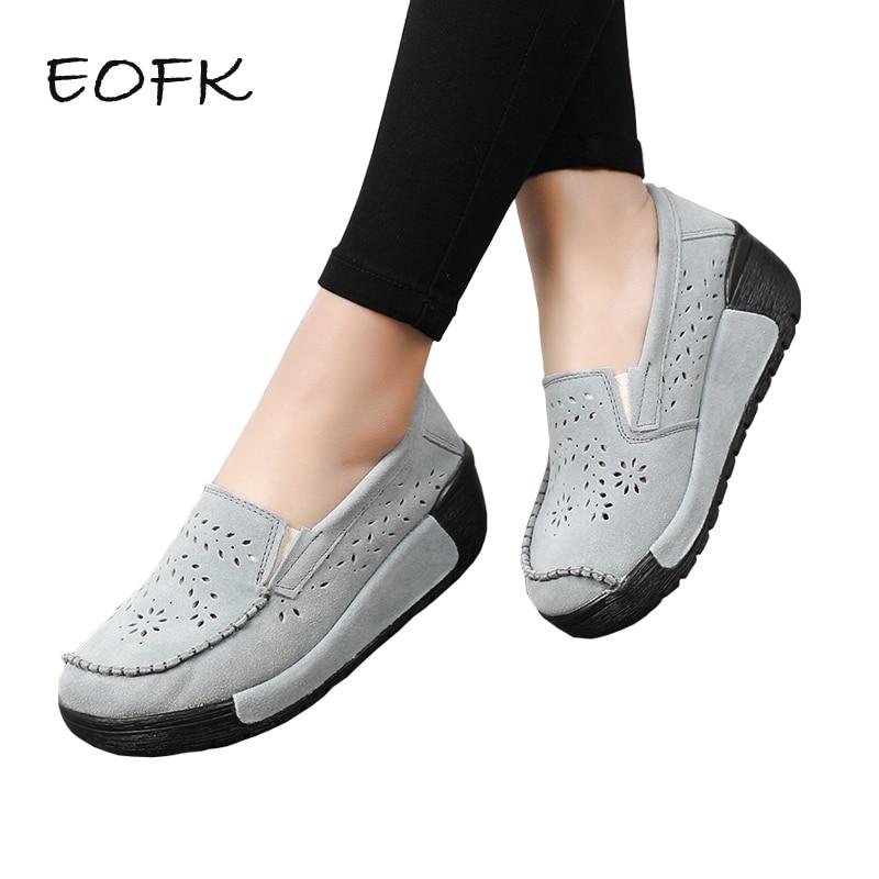 EOFK Women Platform Shoes Woman Elegant Fringe Genuine Leather Slip On Flats Loafers Creepers Platform Shoes