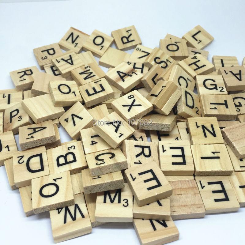 100PCS 18X20MM Wood Square Alphabet Scrabble Tiles Black Letters For Crafts Scrapbooking