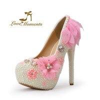 Love Moments свадебная обувь белый/розовый кружева цветы свадебные туфли насосы платформы тонкие каблуки круглый toe партия обуви для