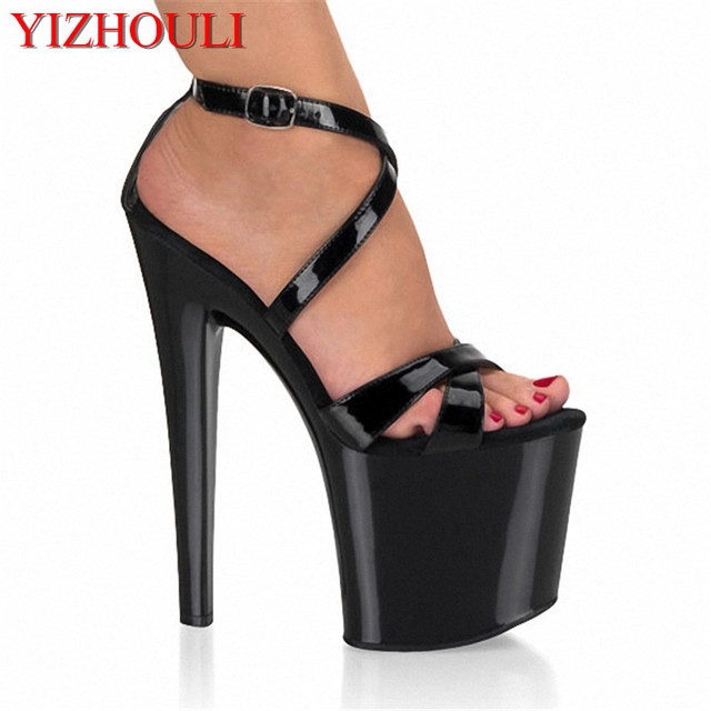 aceb6447f48 US $55.08 32% OFF|lady fashion 8 inch high heel shoes sexy for women pole  dancing strappy sandals 20cm clubbing high heels black-in High Heels from  ...