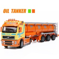KAIDIWEI Tank Truck 6 Wheel Linkage Alloy Diecast Model Transportation Tools For Little Baby Gifts Engineering Vehicle Kids Toys