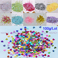 100g 3mm Love Heart Shape PVC loose Sequins Glitter Paillettes for Nail Art manicure/sewing/wedding decoration confetti
