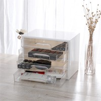 3 Layers Acrylic Plastic Storage Drawer Minimalist Office Desk Storage Drawer Box Organizer Sundries Document Paper Container