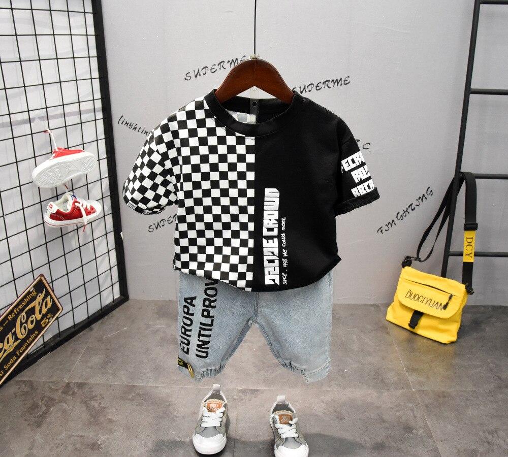 2PCS WLG Boys Summer Clothing Set Kids Boy Plaid Patchwork T Shirt And Letter Denim Short Set Children Casual Clothes