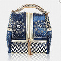 Hot 2017 Designer Woven Women Handbag Famous Brand Rhinestone Totes Shoulder bag Luxury Bags