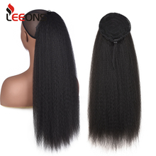 Leeons 22 Inch Drawstring Ponytail Hair Extension Clip Synthetic Afro Kinky Straight Ponytail Hairpieces With Elastic Band Comb