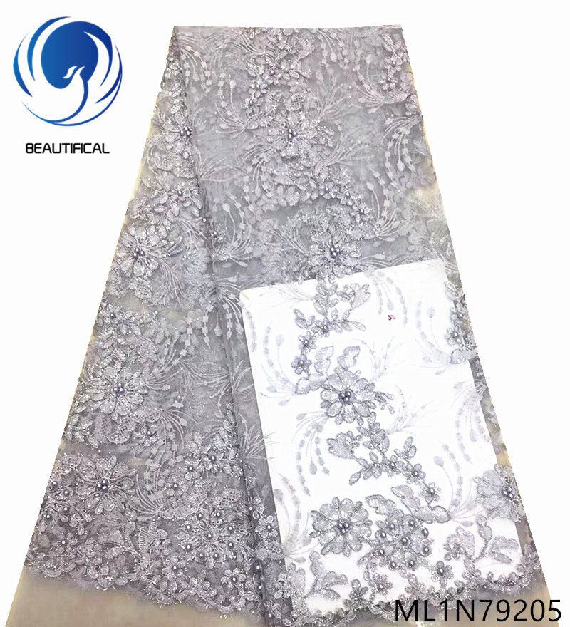 Beautifical beaded lace fabric net lace fabrics tulle lace fabric african 2019 with sequins and beads hot sales 5 yards ML1N792 in Lace from Home Garden