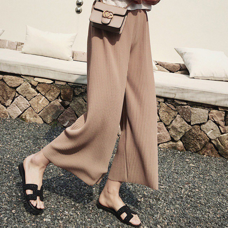 Women Comfy Stretch   Wide     Leg     Pants   High Waist Loose Straight Pleated   Pants