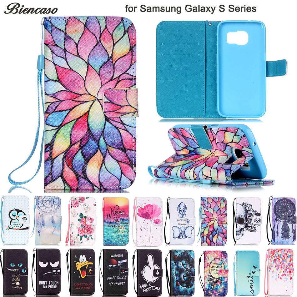 Biencaso Wallet <font><b>Flip</b></font> <font><b>Case</b></font> for <font><b>Samsung</b></font> Galaxy S3 mini i8190 S4 mini i9190 i9300 S5 mini <font><b>S6</b></font> S7 <font><b>Edge</b></font> S8 S9 Plus Cover Fundas B21 image