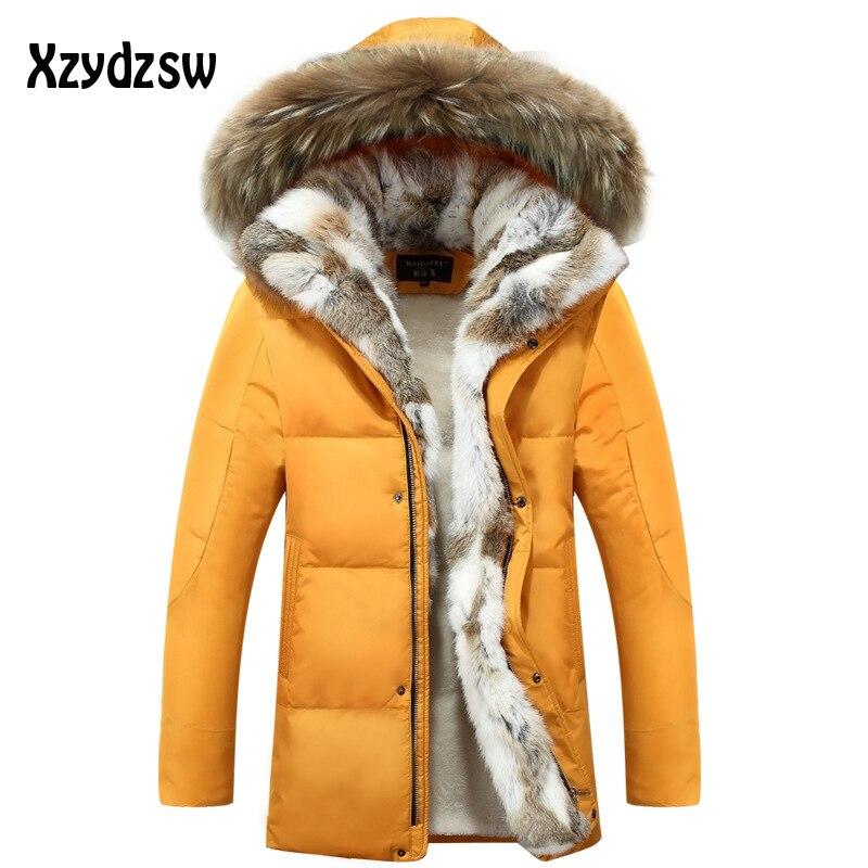 568c1cdde 2018 nuevo abrigo para hombre chaquetas de plumón Cuello de piel de moda  gruesa Parka abrigada ...