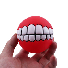 2pcs/lot Rubber Ball Pet Dog Chew Toy Funny Teeth Puppy Dog Squeaky Toys Diameter 7.5cm