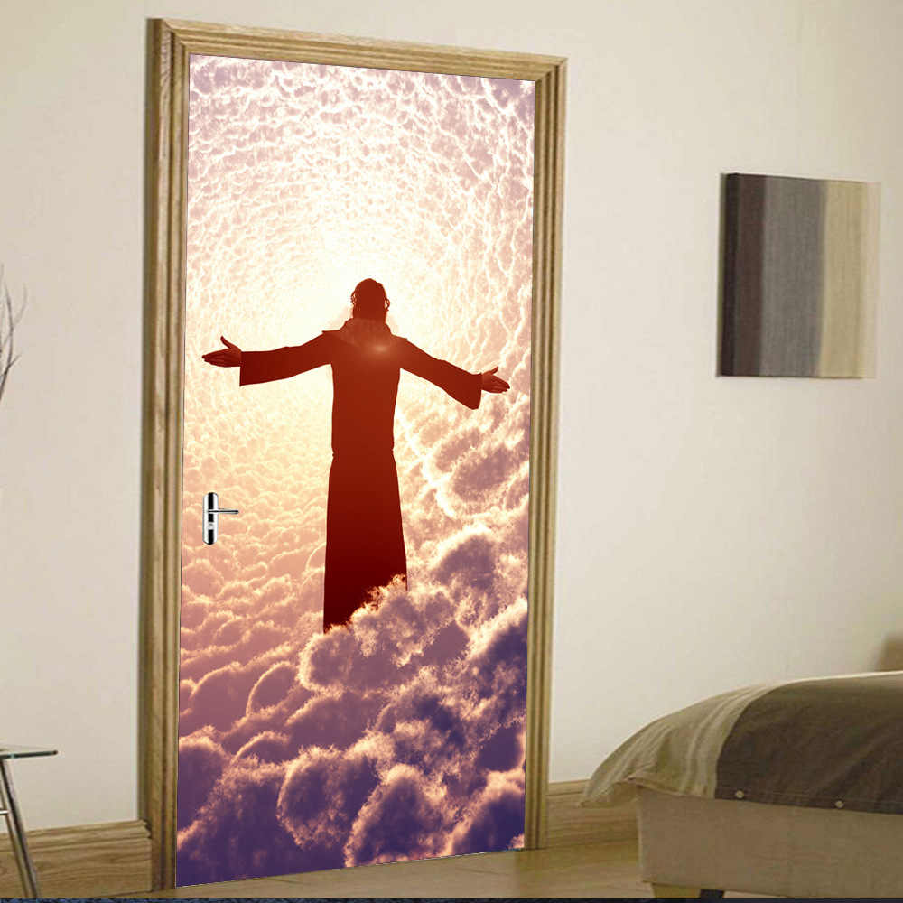 Винтаж и классической религиозной Иисуса на облаке двери Стикеры s Гостиная двери Стикеры украшения аксессуары для дома оптовая продажа