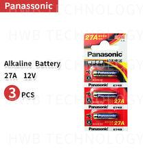 Panasonic pilha alcalina de 3 pçs/lote 27a a27 12v, pilha de alta capacidade com alarme, remoto e seco, 27ae 27mn brinquedos calculadora campainha