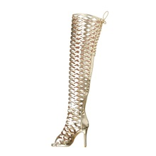 Gold Hollow Out Thigh Boots Women Peep Toe Lace Up Zip Shoes Cutouts Mirror Leather Over The Knee Boots Size 36-44 Sandal Boots prova perfetto sexy black women over the knee boots hollow out thigh high boots lace up summer boot peep toe gladiator sandals