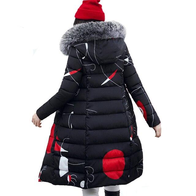 2019 зима для женщин пальто с капюшоном меховой воротник утепленная длинная куртка Женский плюс размеры 3XL верхняя одежда парка дамы chaqueta ...
