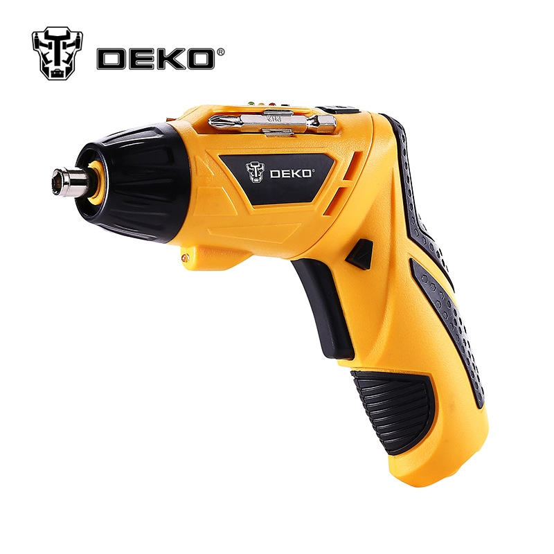 DEKO Cordless Electric 3.6V Lithium-Ion Screwdriver Household Multifunction Electric Drill Tools LED Light Rechargeable 6v electric battery power screwdriver cordless drill 200rpm with led light screwdriver household dyi tools