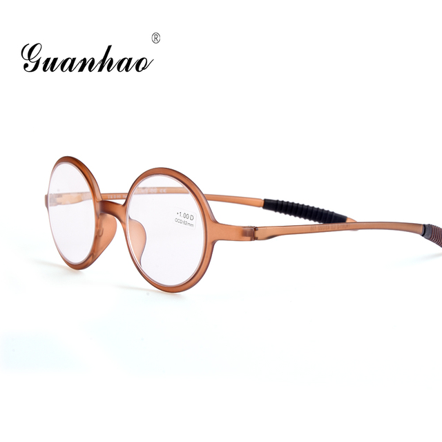 Guanhao Retro Ultralight Round Reading Glasses Man Women Resin Lens Clear Toughness Frame Spectacles Gafas Presbyopia 1.0 1.5