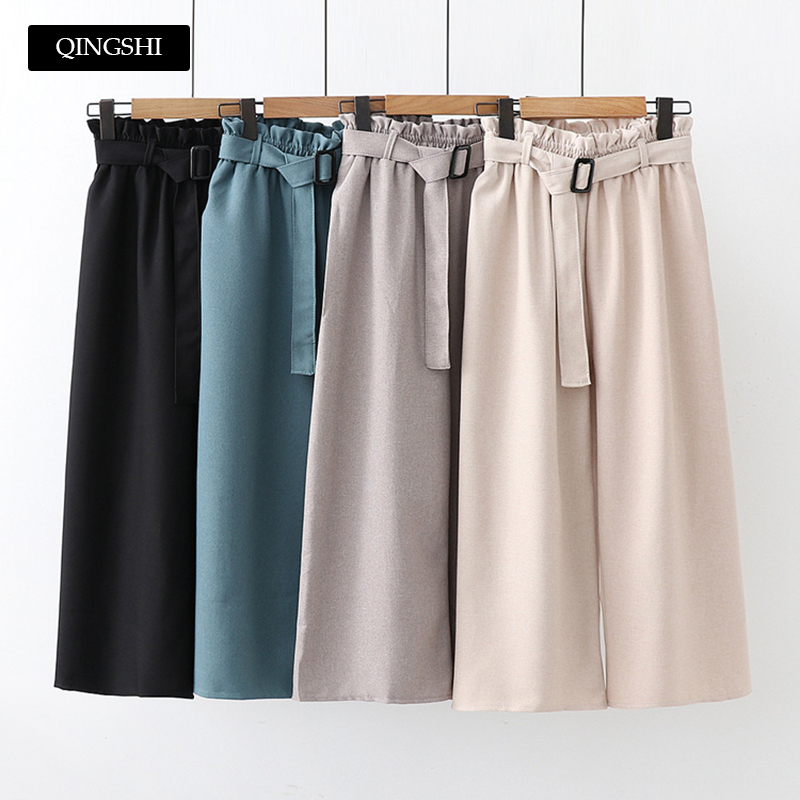 4 Colors Womens Summer Casual Linen   Pants     Capris   High Waist Belt Wide Leg   Pants   Trousers Korean Fashion   Pants   Office Streetwear