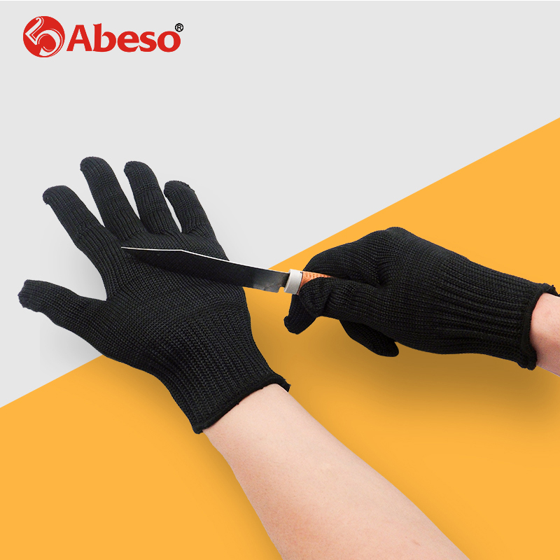 Abeso Gloves Proof Protect Stainless Steel Wire Safety Gloves Cut Metal Mesh Butcher Anti-cutting Breathable Work Gloves A3021 black stainless steel wire resistace gloves anti cutting breathable work gloves safety anti abrasion gloves free shipping
