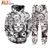 Anime Ahegao Funny 3D All Over Print Hoodies Joggers Hipster Sexy Cartoon Street Wear Alisister Brand