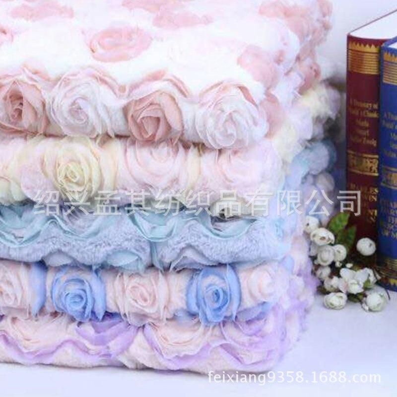 Behendig Konijnenbont Borduren Bloem Thuis Textiel Kussen Flanellen Stof