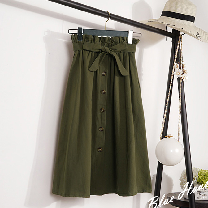 2019 Womens Skirts Elegant Button High Waist Korean Skirt Female Pleated A-Line Mid-Calf Skirt Plus Size Femininas Faldas Mujer