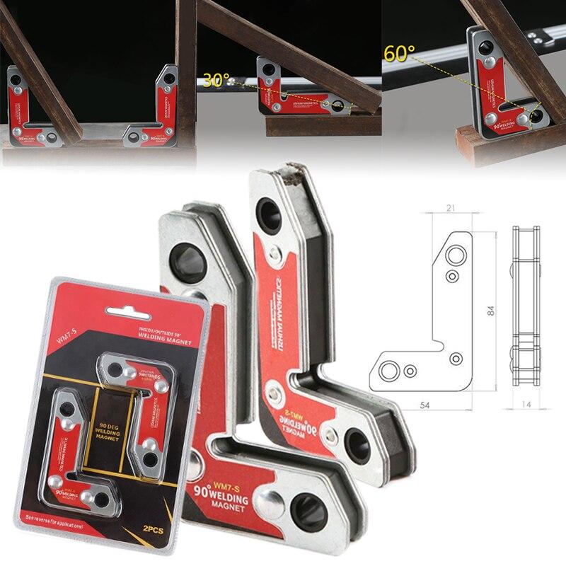 Mayitr 2pcs/set WM7-S Strong Neodymium Welding Corner Magnet Magnetic Holder Clamp Fixer Welder Tool