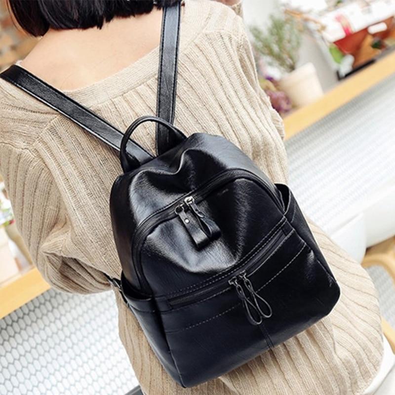 Vintage 2018 Women Small PU Leather mini Backpack Ladies Simple Back Pack Female black Backpack school bags bolsas femininas