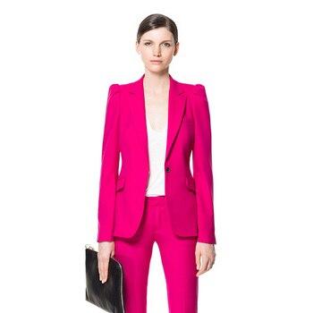 Fuchsia Women Office Suits Uniform Styles Fashion Elegant Pant Suits Slim Fit Formal Work Wear Sets Female Touser Suits