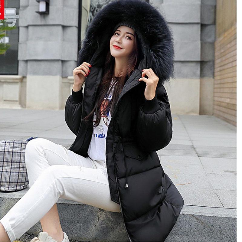 bourgogne Coton Manteau Streetwear Hiver Grand Dernières Capuche Noir Chaud Green Parkas Et army Tempérament Fourrure Femmes À Long De 2019 Épais Slim Col gris blanc xfFSptnfw