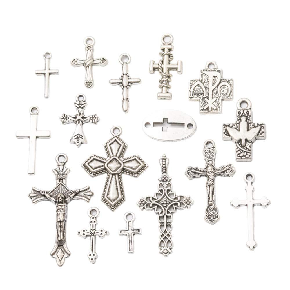 10 Stücke Antike Silber Kreuze Charms Anhänger Schmuck Erkenntnisse Für Die Herstellung Von Armband Und Halskette